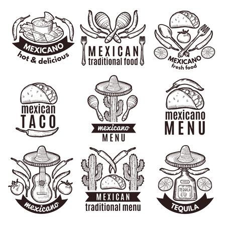 Label set with traditional mexican symbols. Food emblems for restaurant menu Çizim