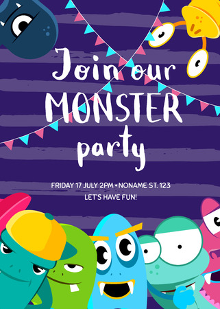 vintage postcard: Monster party invitation poster with crowd of cute monsters and garlands on stripes background Illustration