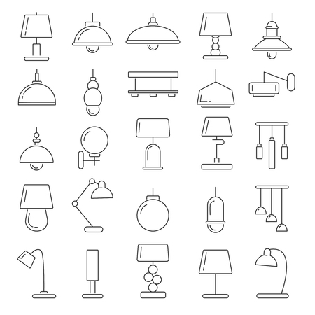 Different modern lamps. Vector illustrations in linear style
