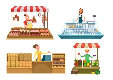 mujer en el supermercado: Mercados locales. Alimentos frescos de la granja, carne, panadería y leche. Compras lugares aislados sobre fondo blanco