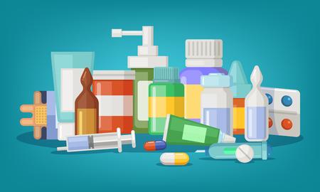 Ilustración de vector farmacéutico de botellas y píldoras médicas