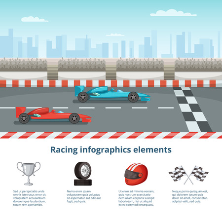 Sport infographic with race cars. Different cars and driver tools