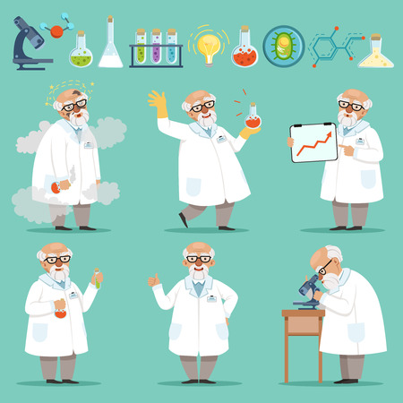 Scientist or chemist at his work. Different accessories in science laboratory Illustration