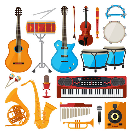 Bongo, drums, guitar and other musical instruments. Vector illustrations in cartoon style