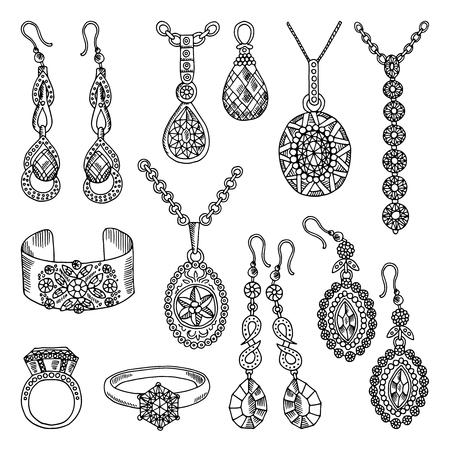 Hand drawn pictures set of luxury jewelry. Vector illustrations Vettoriali