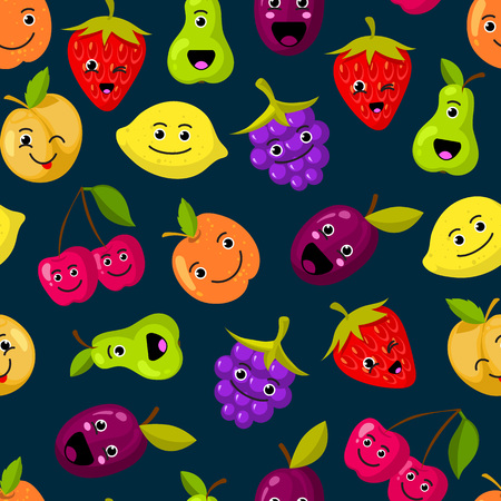 Vector flat fruits with cute faces pattern or background Illustration