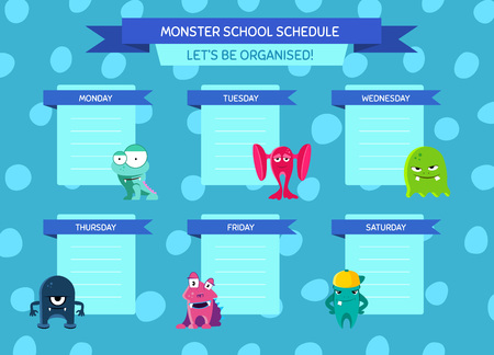 weekly: Vector school schedule with ribbons, cartoon monsters on circles background