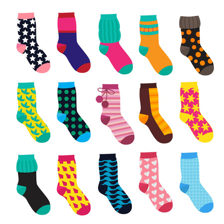 Socks in cartoon style. Elements of kids clothes. Vector illustrations isolate Kids sock warm with colored pattern