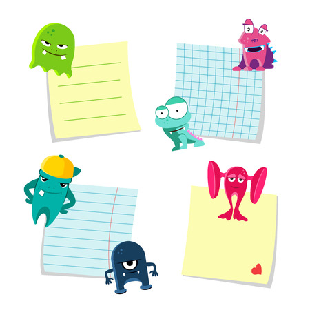 Vector small notes with shadows set kept by cute monsters isolated on white background. Illustration of monsters with notes paper Illustration