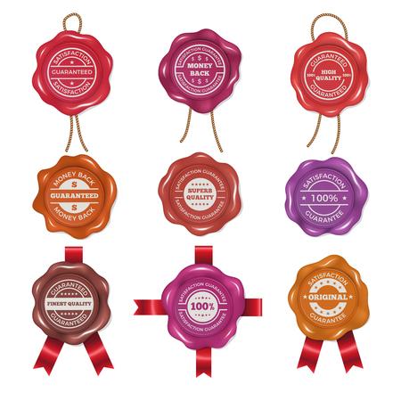Waxzegels met verschillende promo labels. Vector foto's ingesteld Stock Illustratie