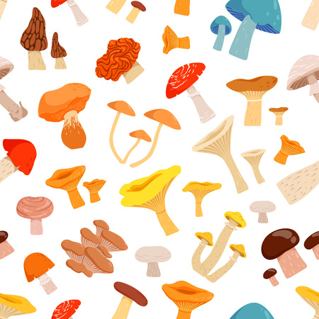 A Seamless pattern with mushrooms. Cartoon pictures isolate on white background. Forest mushroom autumn, vector illustration