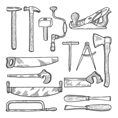 Tools in carpentry workshop. Vector hand drawn illustration Stock Illustratie