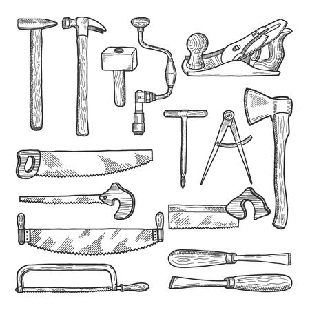 Strumenti nel laboratorio di falegnameria. Illustrazione disegnata a mano di vettore Vettoriali
