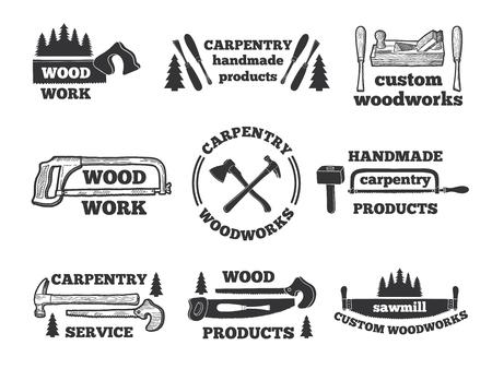 Labels voor houtbewerking winkel. Zwart-wit illustraties met timmerwerkhulpmiddelen