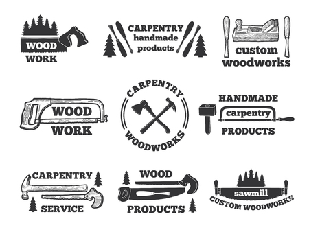 Labels for woodworking shop. Monochrome illustrations with carpentry tools Illustration