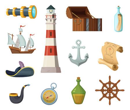 Marine vector objecten. Borst, kompas, schatkaart en andere objecten in cartoonstijl Stock Illustratie