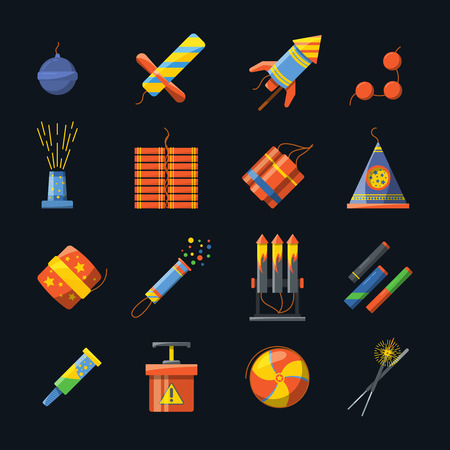 Pyrotechnics for holidays and different tools for fire show. Vector icons set in flat style