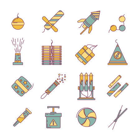 dynamite: Dynamite, bomb, fireworks and other pyrotechnics tools. Vector linear illustration