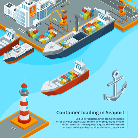 Dry cargo ship with containers. Maritime industrial work. Isometric illustrations Ilustração