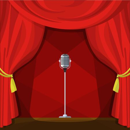 Scene with red curtains and retro microphone. Vector illustration in cartoon style