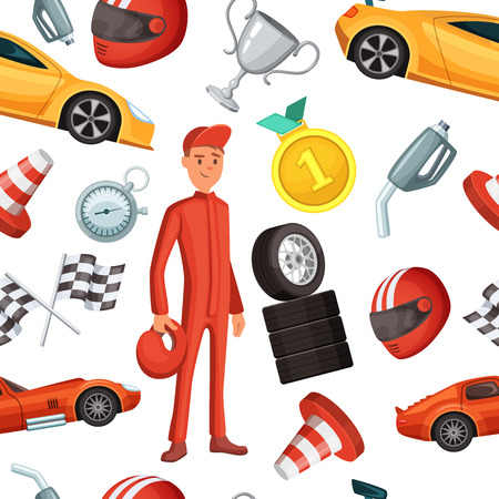 Seamless pattern with racer and racing sport cars. Vector sport illustrations Illustration