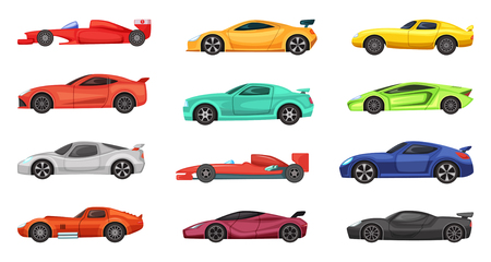 f1: Different sport cars isolated on white. Vector illustrations of racers on road