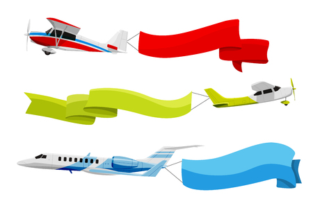 Attached banners to flying airplanes. Vector illustration in cartoon style Çizim