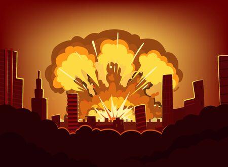 도시에서 큰 폭발 후 전쟁과 손해. 원자 폭탄 후 화상 하늘과 단색 도시 풍경