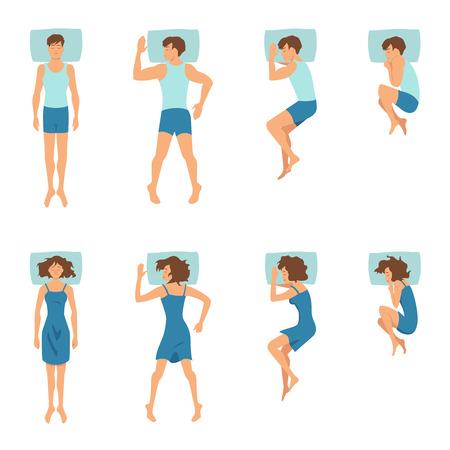 Mann und Frau in Schlafhaltungen. Draufsichtillustrationen von entspannenden Positionen Vektorgrafik