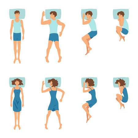 Male and female in sleeping poses. Top view illustrations of relaxing positions