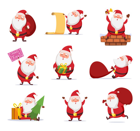 Christmas characters of funny santa in dynamic poses. Vector mascot design in cartoon style