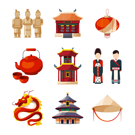 Culture icons set. Traditional chinese elements. Vector illustration in cartoon style Vettoriali