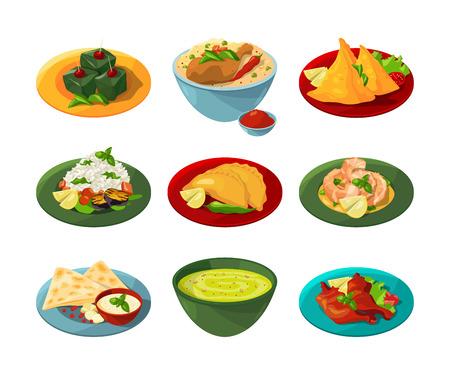 さまざまな料理で伝統的なインド料理の漫画セット