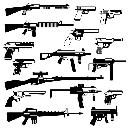 Military set of automatic guns, pistols and other weapons. Monochrome illustrations isolate Illustration
