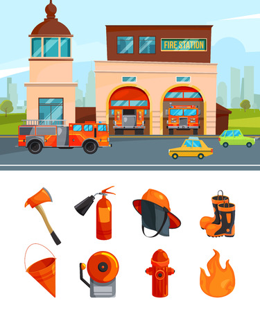 Municipal building of fire station services. Vector pictures isolate on white
