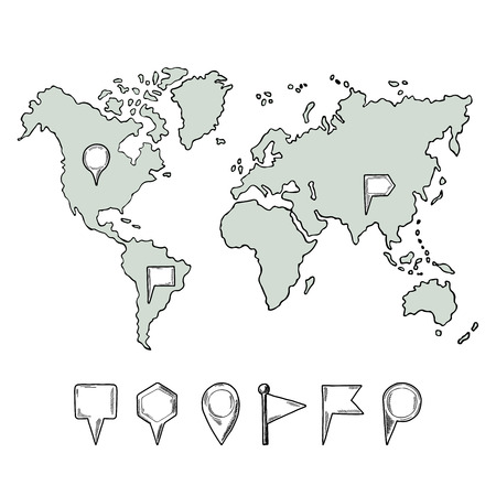 Doodle Illustrations Of World Map With Hand Drawn Pins. Vector ...