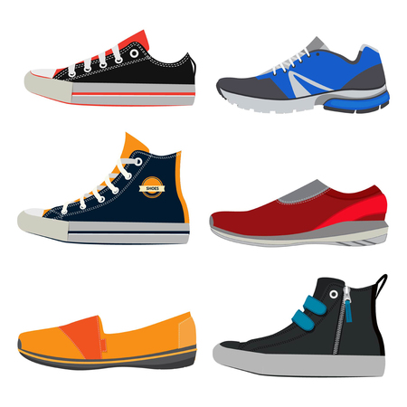 Teenage sports shoes. Colorful sneakers at different styles. Vector illustrations set in cartoon style Ilustração