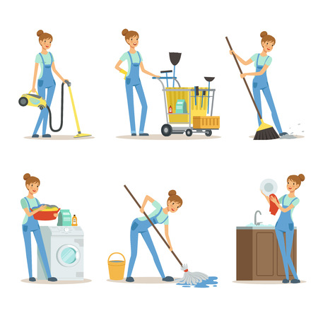 Professional cleaning service. Woman cleaner make some housework