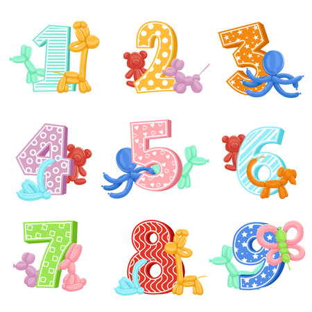 kids birthday party: Inflatable animals with birthday numbers. Vector illustrations. Design template of invitation cards for kids party