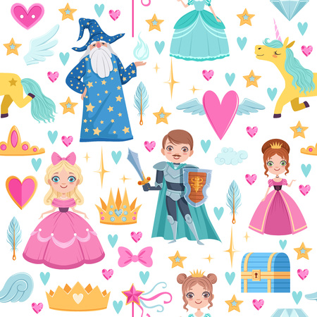 Seamless pattern with different magic elements. Fairytale illustrations in cartoon style Stock Photo