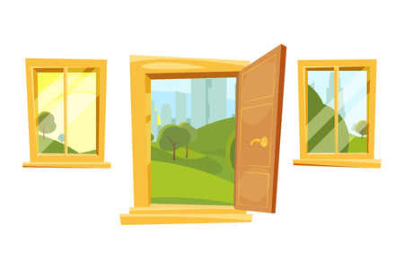 windows frame: Open doors and sunset landscape behind windows. Vector pictures set in cartoon style Stock Photo
