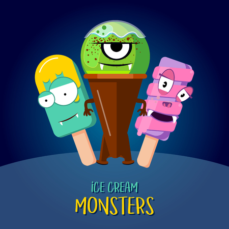 Eiscreme-Vecton-Charakterdesign. Drei Monster