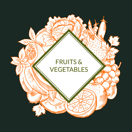 Vector doodle sketched fruits and vegetables vegan, healthy food emblem isolated on colored background Illustration