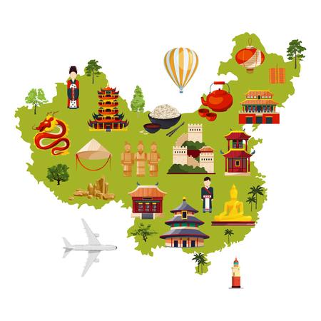다른 문화 개체와 중국 여행 그림입니다. 만화 스타일의 벡터지도 일러스트