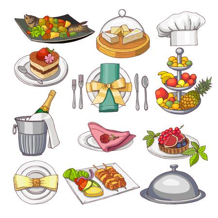 Colored illustration of restaurant food set for design menu template Illustration