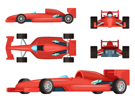 Different sides of sport cars. Vector illustration isolated