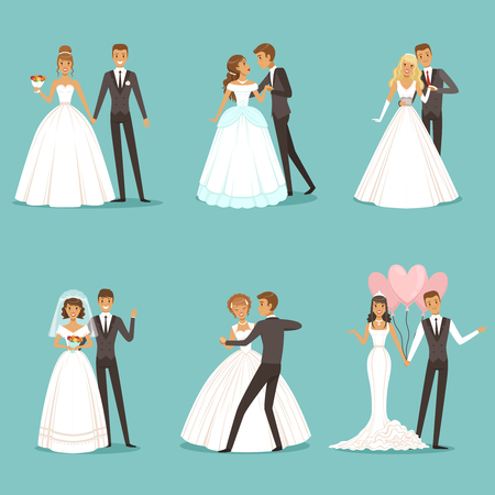 Beautiful wedding couple characters. Bride and groom Illustration