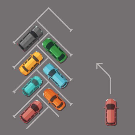 Vector car parking lot top view illustration