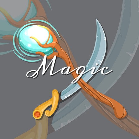 Vector fantasy cartoon style game design medieval crossed magic staff and sword