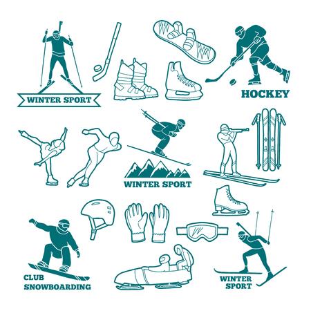 Set wintersport monochrome illustraties. Stock Illustratie